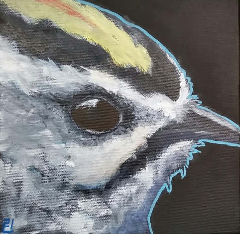 "Golden-crowned Kinglet 6""x6"" Acrylic"