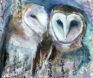 Twilight| Barn Owls | 20 x 24 inches | Mixed Media