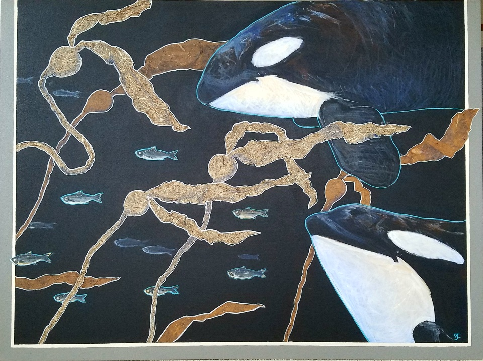 Salish Sea Orcas 48x36 1000 Vikki Jackson and Lyn Jackson